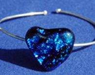 Blue Dichroic Heart Bracelet